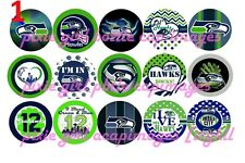 Seattle Seahawks Clasic Football Team Bottle Cap Images Sheet Cup Cake Toppers