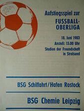 Program Ar 1982/83 Shipping/Port Rostock - Chemistry Leipzig