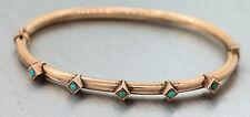Ladies Antique Victorian 14K 585 Rose Gold Turquoise Bangle Bracelet