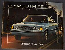 1985 Plymouth Reliant K Catalog Sales Brochure Excellent Original 85