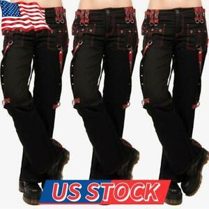 Women Cargo Pants Punk Gothic Trousers Overalls Pants Ladies Wide Leg Casual US