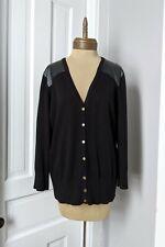 XL Black Vegan Leather Patch Shoulder Knit Gold Button Cardigan Sweater