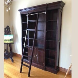 Solid Mahogany Wood Large Bookshelf with ladder Antique Design New/ PRE-ORDER