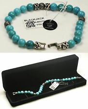"$109 BLACKJACK 9"" 00BJB92OTQ 8mm Genuine Turquoise Bead Bracelet NWT"