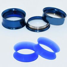 2 Pairs Stainless Steel Screw Tunnels Plugs & Soft Silicone Earskin Blue Gauges
