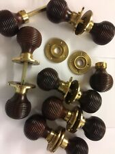 8 Pairs Rosewood Beehive door handles,REEDED Victorian antique beehive DOOR Knob