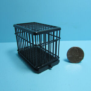 Dollhouse Miniature Small Metal Dog Animal Crate Cage in Black EIWF464