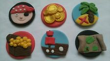 x 6  pirate mix edible sugar birthday cake, cupcake topper decorations