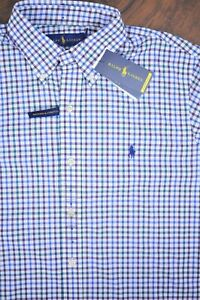 NWT Polo Ralph Lauren Performance Button Front Shirt Multi Check Men's Medium M