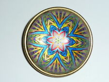 """Paperweight Domed Shank Button 1-1/2"""" Funky Flower Blue Red Yellow Purple"""