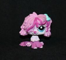 Littlest Pet Shop Pink Sheepdog #2487 Blue Eyes Bow Komondor Dog purple (Dg04)