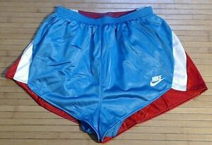 Vtg Wmns Nike Running Shorts Swoosh Red White Blue with liner Polyester USA