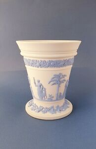 Very Collectable Blue On White Ground Wedgwood Jasperware Vase