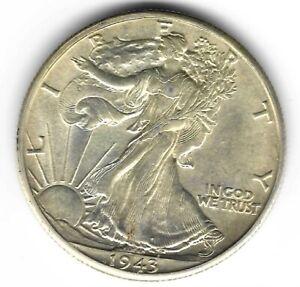 1943-D 50c WALKING LIBERTY SILVER HALF DOLLAR - UNCIRCULATED