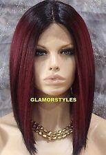 Straight Bob Off Black Burgundy Lace Front Full Wig Hair Piece #3T1B.BURG NWT