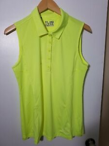 1 NWT UNDER ARMOUR WOMEN'S S/L POLO, SIZE: MEDIUM, COLOR: NEON YELLOW(J98)