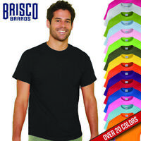 Brisco Heavy Cotton 5.4 oz Adult Plain Color White Blank T Shirt Tee Top