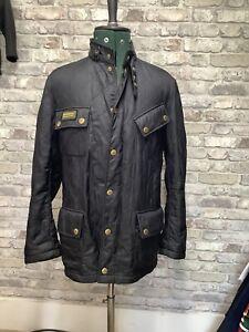 Barbour International Grasstrack Jacket Motorbike Quilted Black Coat M