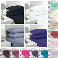 Plain Dyed Fitted Sheet Poly-Cotton Bed Sheet Single Double King Super King Size