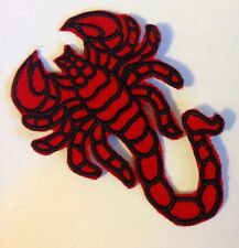RED SCORPION BIKER ASTROLOGY PATCH.EMBROIDED IRON OR SEW ON.MELBOURNE SELLER