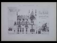 PROJET HOTEL ART NOUVEAU - 1897 - 2 GRANDES PLANCHES ARCHITECTURE, JULIEN POLTI