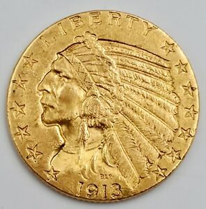 1913 Gold $5 Dollar Coin American Indian Head Half Eagle Coin US United States