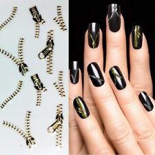 Nagelsticker Gold Reißverschluss Nagelaufkleber Nailart Tattoo Nail Sticker 6021