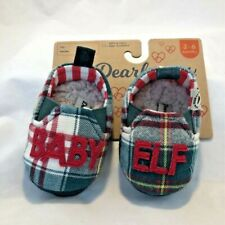Dearfoams Baby Elf Closed Back Slippers Green Plaid Breathable Slip-On 3-6 M New