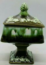 Ceramic Wedding Bowl / Candy Dish Green Drip Glaze Made in Japan Unique