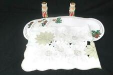 Mixed Holiday Lot: 4 Place Mats Set of Taper Candle Holders Poinsettia Dollie