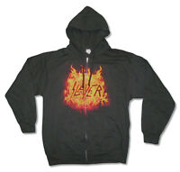 Slayer Flaming Eagle Logo Mens Zip Up Black Sweatshirt Hoodie New Official Merch