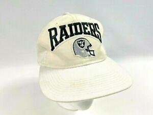 1990s Los Angeles Raiders New Era Pro Model Snapback Hat Logo Name Helmet WHITE