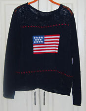 Beautiful American Flag Pullover Scoop Neck Sweater Cotton Knit  Large/XL