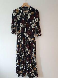 ZARA Polka dot floral Shirt midi / maxi dress Xs 6-8