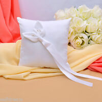 GB09c White Lily Wedding Ceremony Satin Ring Bearer Pillow