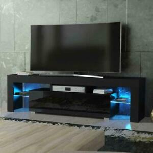TV Unit Stand Cabinet 130cm LED Lights Matt White High Gloss Modern Door