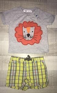 Carter's Minoti 9 12 MOIS GARCON / T Shirt+ Short Été Motif Lion TBE