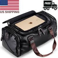 Travel Black Leather Luggage Bag Large Men Gym Crossbody Duffle Shoulder Handbag
