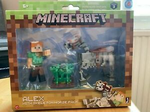 Minecraft Series 3 Alex With Skeleton Horse Action Figure Set RARE