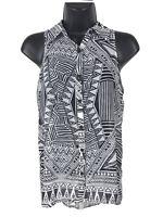 DECREE Sleeveless Top Womens Size XS Black White Tunic Blouse Semi Sheer