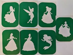 7 x Princess-2 Face Painting And Glass Etching Stencils Glitter Glass art