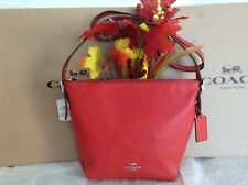 NWT. COACH PEBBLE LEATHER  DANNY SHOULDER DUFFLE BAG BRIGHT RED F34767