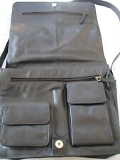 Brown Leather Visconti  Man Messenger Shoulder Bag Lots of Pockets Sections