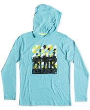 Quiksilver Boys Hoodie Football Long Sleeves Graphic Print Scuba Blue Size M NWT
