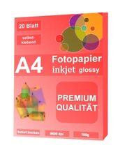Fotopapier selbstklebend Premium 105g 20 Blatt Glossy selbstklebend A4