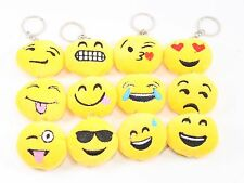 Set of 12 ~ Tiny Emoji Face Keychain Key Chain  Protection Toy Gift USA Seller