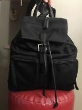 Coach Black Canvas Leather Legacy Drawstring Backpack purse handbag # 9858 Rare!