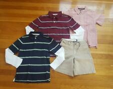 Boys Size 7 Mix and Match Lot: 2 Long Sleeve Polo Shirts, 1 Camp Shirt, 1 Shorts