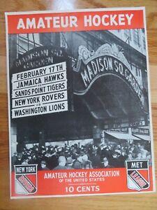 AMATEUR HOCKEY Feb 17 1946 Program JAMAICA HAWKS SAND POINT TIGERS ROVERS LIONS