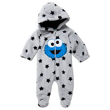 NWT Sesame Street Cookie Monster Boys Star Coverall Romper Size 0000 000 00 0